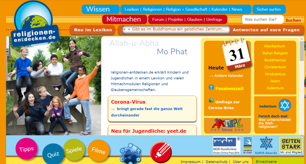 Foto: Screenshot Portal https://www.religionen-entdecken.de/
